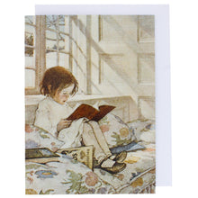 Load image into Gallery viewer, Greeting card showing a painting of a small girl, sat in a bay window reading a book.