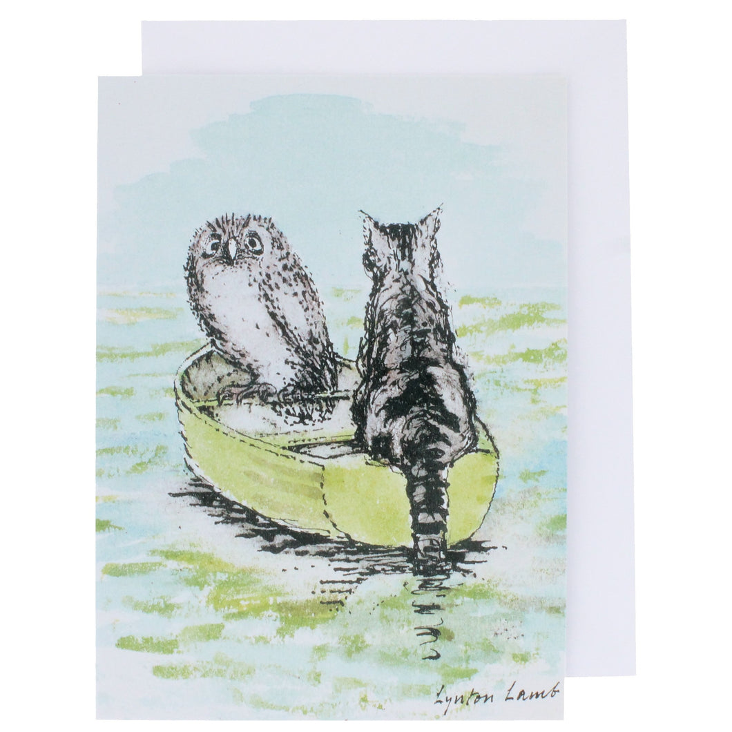 Greeting card showing an illustration of an owl and a pussy cat sat in a boat on the sea, from the children's poem.