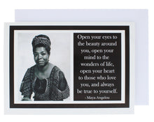 Load image into Gallery viewer, Greeting card showing a photograph of Maya Angeou on the left and a quote of hers on the right.