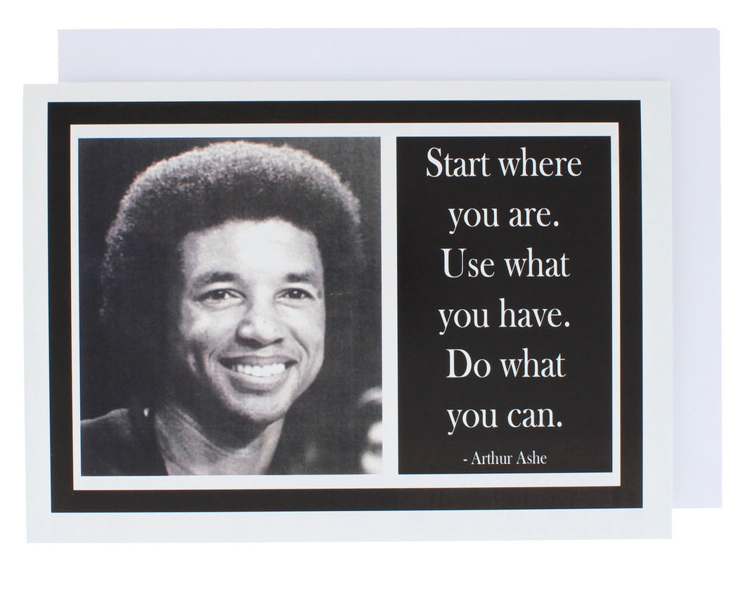 Greeting card with a photograph of Arthur Ashe on one side and a quote of his on the other.