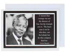 Load image into Gallery viewer, Greeting card with a photograph on Nelson Mandela on the left and a quote of his on the right.