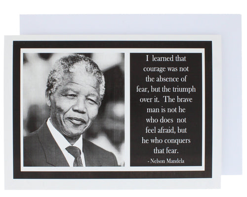 Greeting card with a photograph on Nelson Mandela on the left and a quote of his on the right.