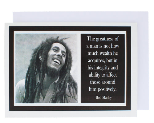Greeting card with a photograph of Bob Marley on one side and a quote of his on the other.