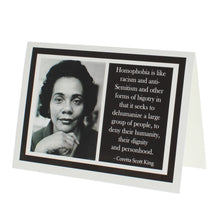 Load image into Gallery viewer, Greeting card with a photograph of Coretta Scott King on one side and a quote of hers on the other.