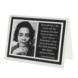 Greeting card with a photograph of Coretta Scott King on one side and a quote of hers on the other.