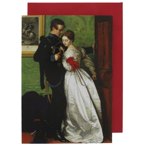 Greeting card showing a woman in a luxurious dress embracing a man in a military uniform.