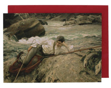 Load image into Gallery viewer, Greeting card with a reproduced painting of a young boy reclining on a rock by a river.