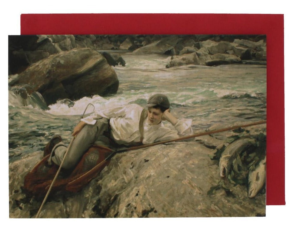 Greeting card with a reproduced painting of a young boy reclining on a rock by a river.