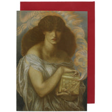 Load image into Gallery viewer, Greeting card showing a painting of a woman, Pandora, holding a golden box.