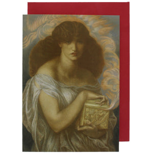 Greeting card showing a painting of a woman, Pandora, holding a golden box.