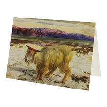 Load image into Gallery viewer, Greeting card reproducing a painting of a goat, on a wild and empty background.