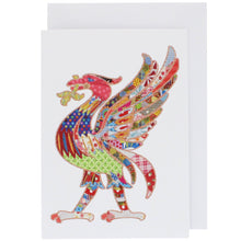 Load image into Gallery viewer, Front of greeting card showing a liver bird, in Tula Moon's distinctive colourful patchwork style.