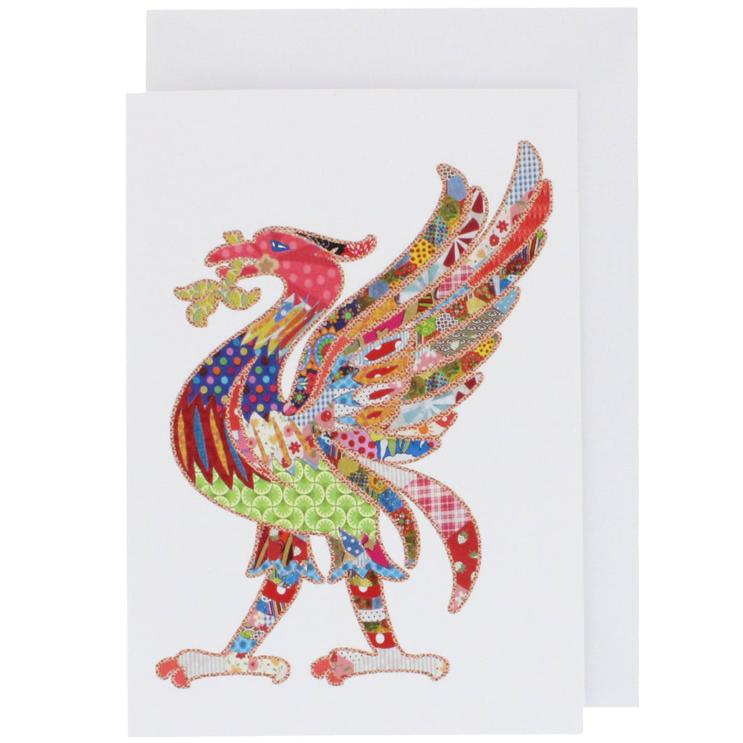 Front of greeting card showing a liver bird, in Tula Moon's distinctive colourful patchwork style.