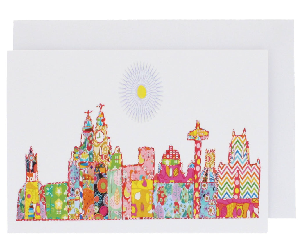 Greeting card with Liverpool's skyline illustrated in Tula Moon's distinctive bright patchwork style.