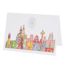 Load image into Gallery viewer, Greeting card with Liverpool's skyline illustrated in Tula Moon's distinctive bright patchwork style.