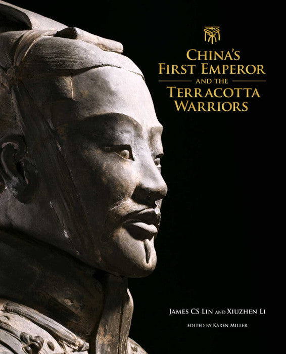 Front cover of the Terracotta Warriors exhibition catalogue featuring a close up photograph of a warrior's face.