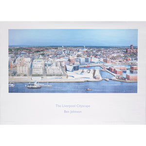 Print of Ben Johnson's City Liverpool Cityscape painting, showing the city and it's skyline viewed from the south.