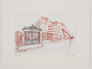 Print of a red and black ink drawing of Anfield stadium