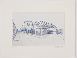 Print of blue ink drawing of goodison park, home of everton fc