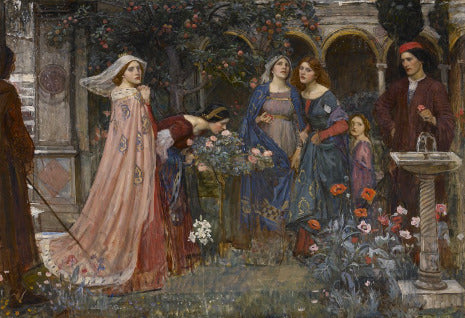 The Enchanted Garden by John William Waterhouse shows a group of fantastically dressed woman and a man gathered in a garden filled with flowers.