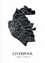 Load image into Gallery viewer, Map of Liverpool city in black with Liverpool and the city's coordinates below