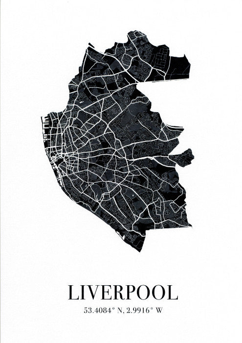 Map of Liverpool city in black with Liverpool and the city's coordinates below