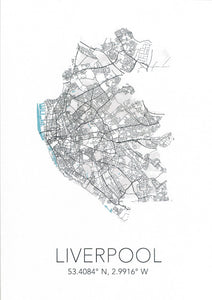 Map of Liverpool city in white with Liverpool and the city's coordinates below