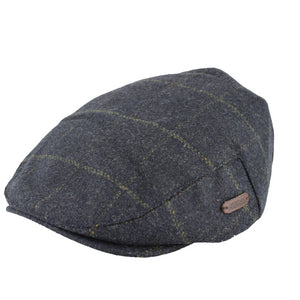 Wool flat cap in a dark blue, with some subtle yellow check