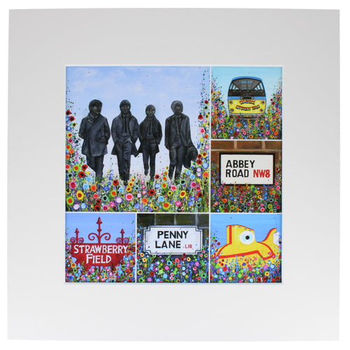 Square art print showing several paintings of the Beatles and scenes from their iconic songs, all painted with abstract flowers