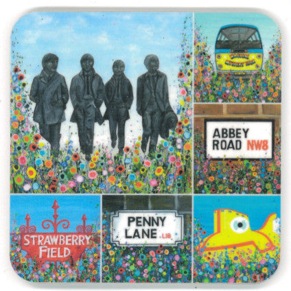 Coaster with a montage of paintings relating to the Beatles and Liverpool, all surrounded by an abstract floral print.