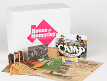 Load image into Gallery viewer, Branded House of Memories box, shown behind it's laid out contents. Containing wartime memorabilia.