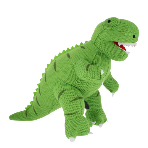 Plush knitted green Tyrannosaurus Rex toy, with felt teeth and dark green stripes