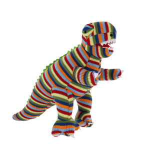 Knitted T Rex toy in multi-coloured stripes