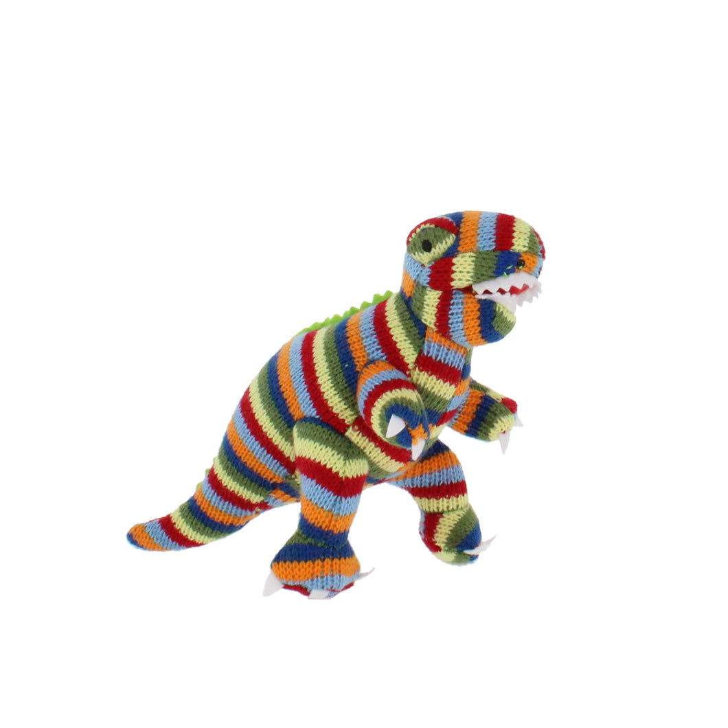 Knitted dinosaur rattle, in multi-coloured stripes