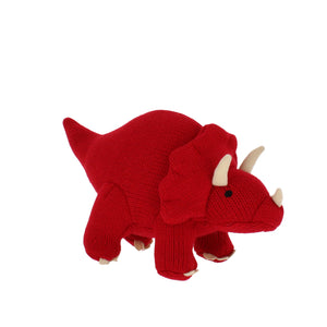 Knitted stuffed red triceratops toy.
