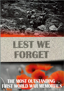 Front cover of Lest We Forget featuring a black and white photograph of the trenches and a colour photograph of poppies.