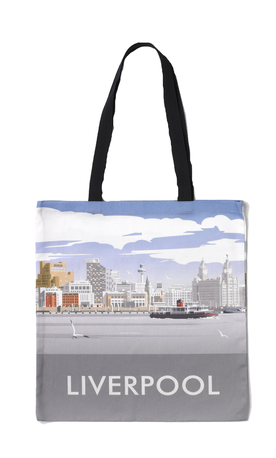 Long handled tote shopper bag with an illustration of Liverpool's skyline.