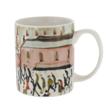 Load image into Gallery viewer, White mug with Lowry painting 'going to work' showing people walking in the same direction through a city
