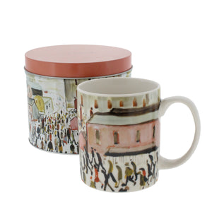 Mug printed with Lowry's Going to Work in front of a circular tin printed with the same art and a matching red lid.