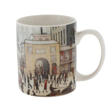 Load image into Gallery viewer, White mug with a Lowry painting 'coming from the mill' showing people changing shifts outside a factory