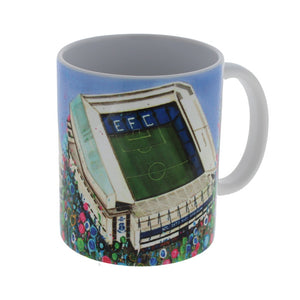 White mug with an illustration of Everton FC stadium surrounded by abstract flowers