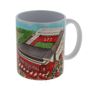 White mug with a wraparound illustration of Liverpool FC's stadium surrounded by abstract flowers