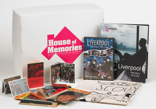 Branded House of Memories box, shown behind it's laid out contents. Containing Liverpool memorabilia.