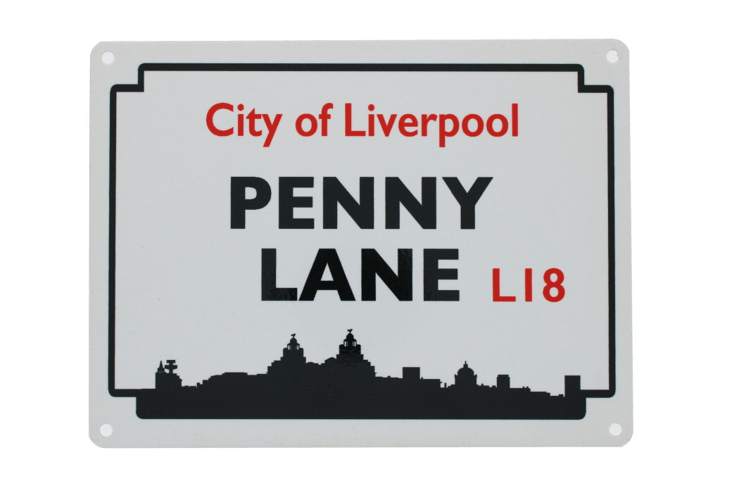 Metal street sign for Penny Lane with the postcode L18 and 'City of Liverpool' also visible
