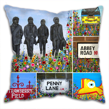 Cushion with a montage of prints of the front, all relating to the Beatles with the same abstract floral design on their border.