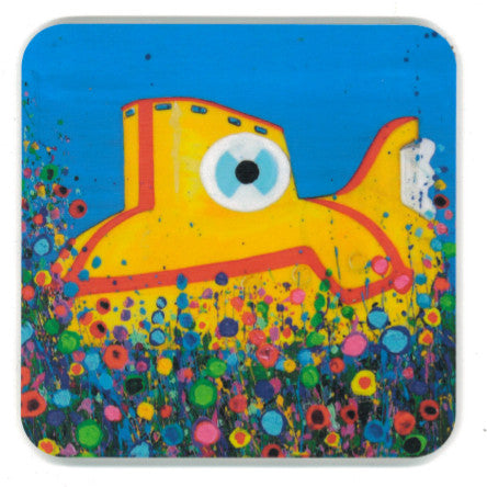 Coaster with a painting of a yellow submarine surrounded by abstract flowers.
