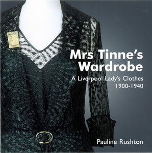Front cover of Mrs Tinne's Wardrobe catalogue, featuring a colour photograph of one of her dresses on a mannequin, the tag still on