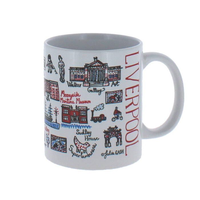 White mug with illustrations of iconic architecture and items from around Liverpool
