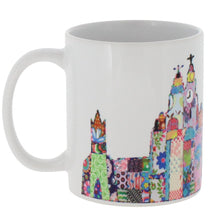 Load image into Gallery viewer, Ceramic mug featuring Liverpool's skyline in Tula Moon's distinctive bright patchwork style.