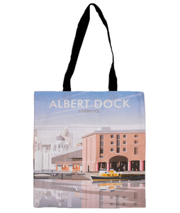 Long handled tote shopping bag with an illustration of Liverpool's Albert Dock.